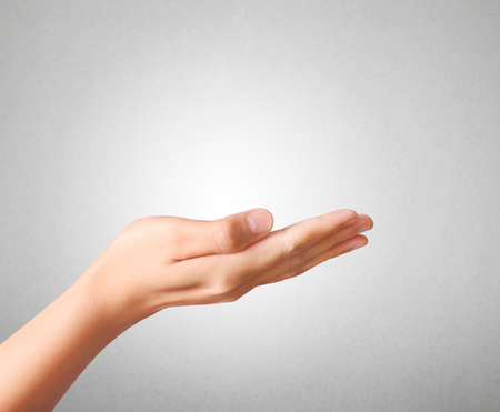 open palm: Open palm hand gesture of male hand Stock Photo