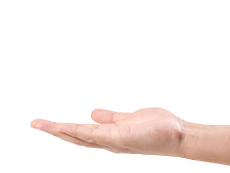 pleading: Open palm hand gesture of male hand Stock Photo