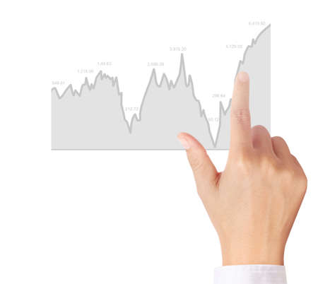 foreign exchange rates: nvestment concept with financial chart symbols coming from a hand