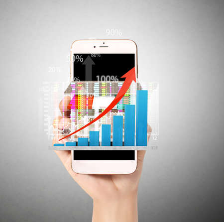 finance report: Touch screen smartphone in hand