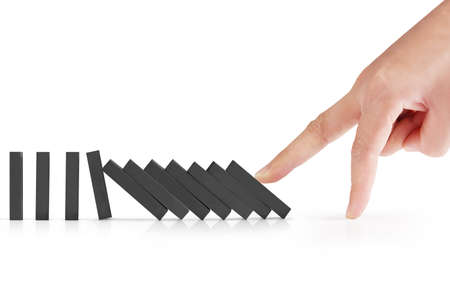 toppled: hand stop a dominoes continuous toppled
