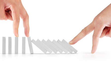 intervene: hand stop a dominoes continuous toppled