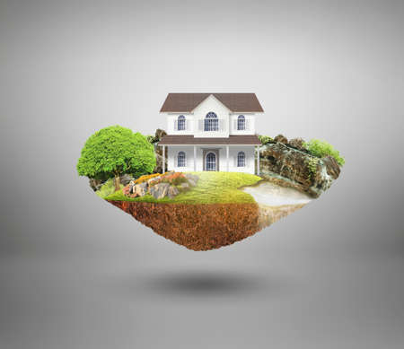 dream land: house on a piece of earth with garden