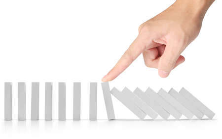 to interfere: hand stop a dominoes continuous toppled