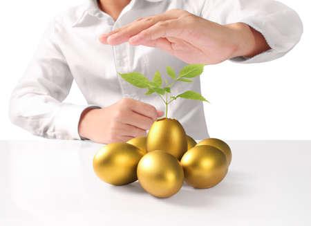 Businessman Holding of golden eggs