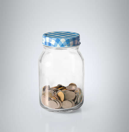 silver coins: Silver coins in piggy bank Glass