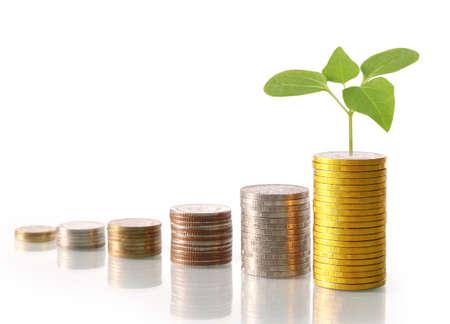 Investeringen concept, munten grafiek beurs Stockfoto - 82943097