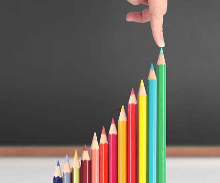 Color pencils,graph stock market