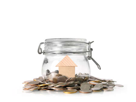 Silver coins in a piggy bank Glass