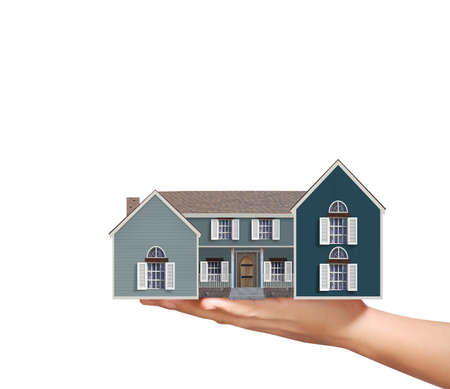 expensive: Mortgage concept by house from in hand Stock Photo