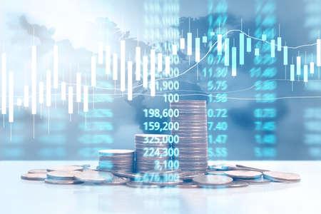 Grafiek munten stock Financiën en bedrijfsconcept Stockfoto - 85247754