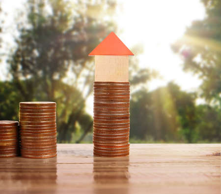 model of the house on a Coin Stock Photo