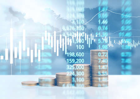 graph coins stock finance and business concept Stock fotó - 89001068