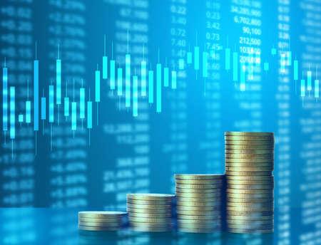 uk money: Investment concept, Coins graph stock market