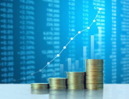 libra esterlina: Investment concept, Coins graph stock market