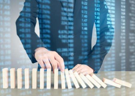Stopping domino concept , business solution Фото со стока