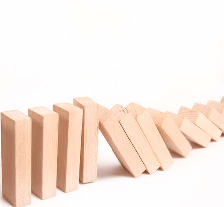 domino effect stopped by a unique Foto de archivo