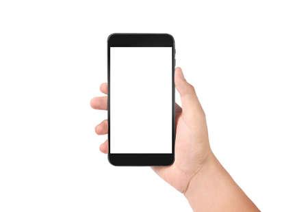 Man mano che tiene il dispositivo smartphone e lo schermo commovente