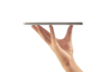 using digital tablet in a hand