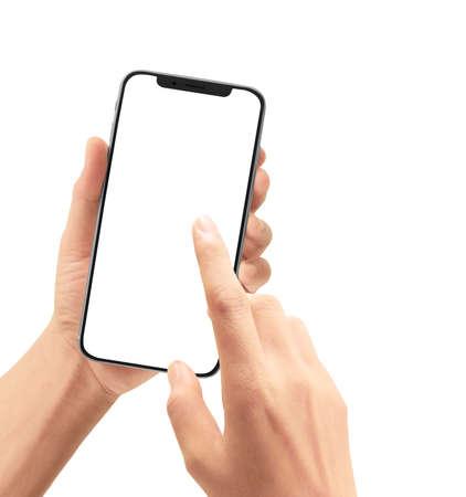Hand hält Smartphone-Gerät und Touchscreen touch Standard-Bild