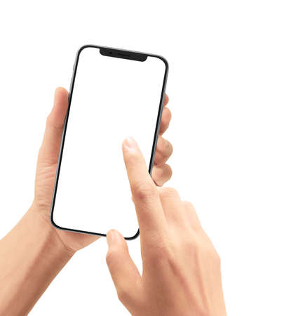 Hand holding smartphone device and touching screen Stock Photo