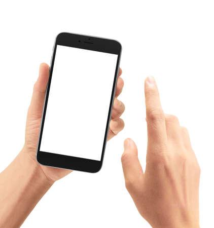 Mano que sostiene el dispositivo de teléfono inteligente y pantalla táctil