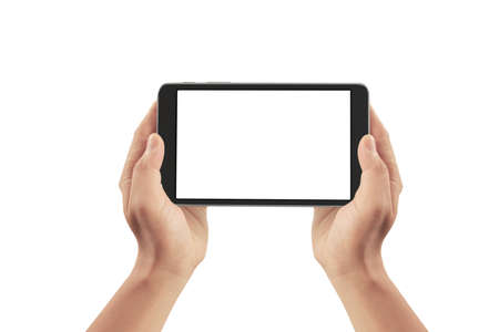 Hands holding a tablet touch computer gadget with isolated screen 스톡 콘텐츠