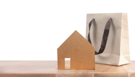 Wooden House Model on wooden there space.Home,Housing and Real Estate concept Stok Fotoğraf