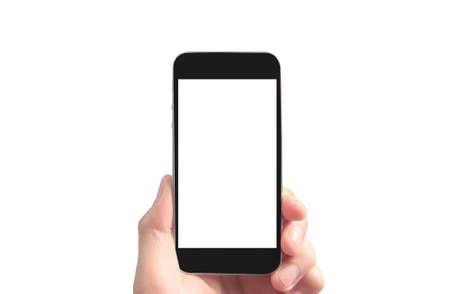 Houd mobiele telefoons, smartphones in de hand en touchscreen-technologie Stockfoto
