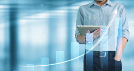 Businessman using digital tablet in a hand.business idea
