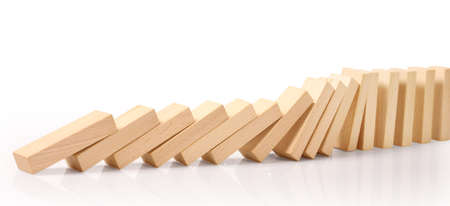 Domino effect stopped by unique, continuous toppled