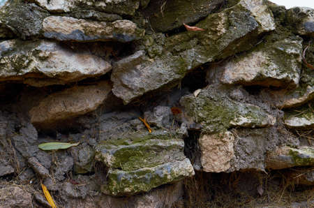 old stone wall outdoors for background, texture.Natural stone masonry