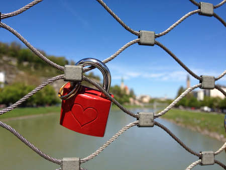 sweetheart: Sweetheart lovelock at makartsteg bridge salzberg austria Stock Photo