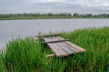 Lakeside overgrown with reeds and wooden dais