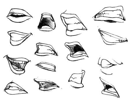 Tutorial lesson drawing a human mouth and lips. Drawing smiles and lips.