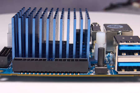 Cooling radiator for the mini computer board. Cooling electronics. 스톡 콘텐츠 - 149024966