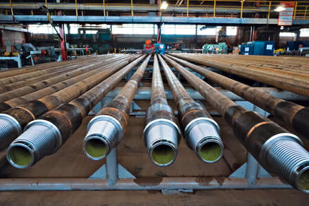 Pumped compressor pipes for the oil well. Oil and gas equipment. 写真素材