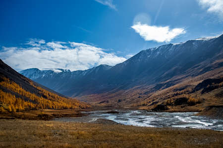 The altai mountains. The landscape of nature on the Altai mountains and in the gorges between the mountains. Stock fotó