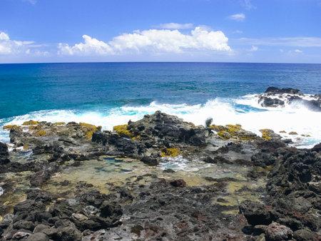 Easter Island coastline. Easter Island coast, rocks and ocean.