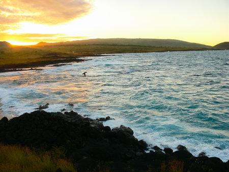 Easter Island coastline. Easter Island coast, rocks and ocean. Stock Photo