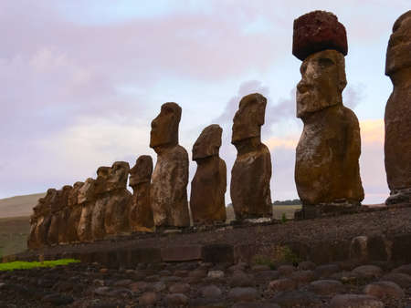 Statues of the gods of Easter Island. Ancient statues of ancient civilization on Easter Island.