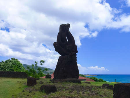 Modern monuments on Easter Island.