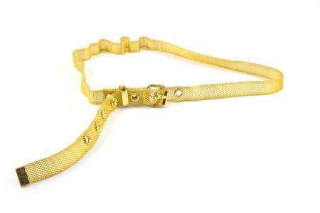 waist belt: Gold waist belt made of metal on a white background Stock Photo