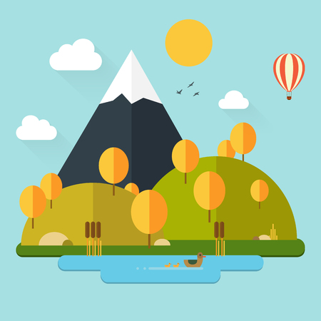 Flat autumn nature landscape illustration in trendy flat design style, eco-friendly. Colorful vector flat icon set: nature, mountain, lake, ducks, sun, trees, cane, clouds 向量圖像