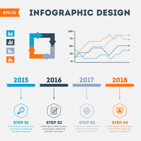 population growth: Timeline Infographics with diagrams. Vector design. Eps 10