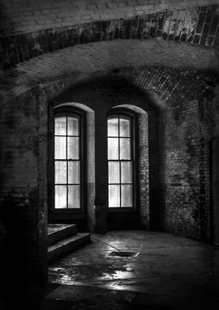 fine print: Black and White fine art print of the Interior of Fort Point at the mouth of the San Francisco Bay in California, USA.