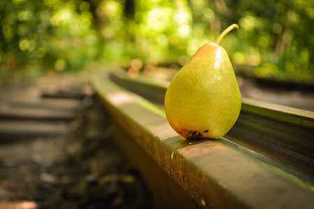 rails: Yellow pear on rails