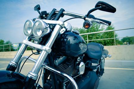 harley davidson: Motorbike Harley Davidson under blue sky, july 15, 2015. Kiev, festival USA in Ukraine