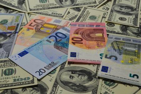 Much money. Many banknotes. Dollar, euro