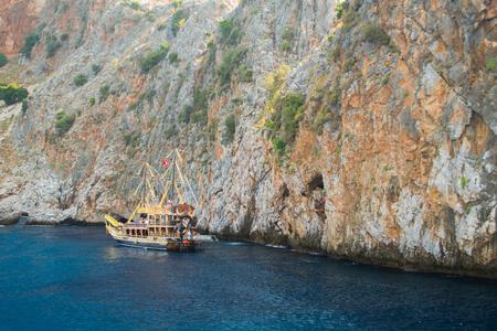 Alanya peninsula, Alanya, Turkey. Tourist ships on the Mediterranean Sea
